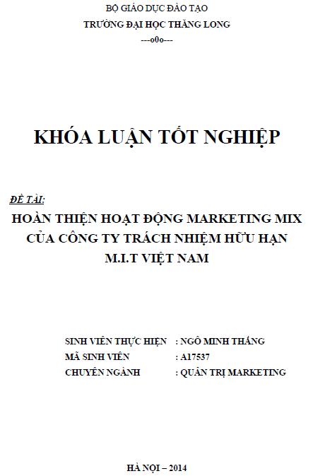 Hoàn thiện hoạt động Marketing Mix của Công ty TNHH M.I.T Việt Nam