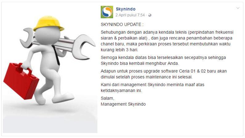 Skynindo Tidak Ada Sinyal Siaran Hilang