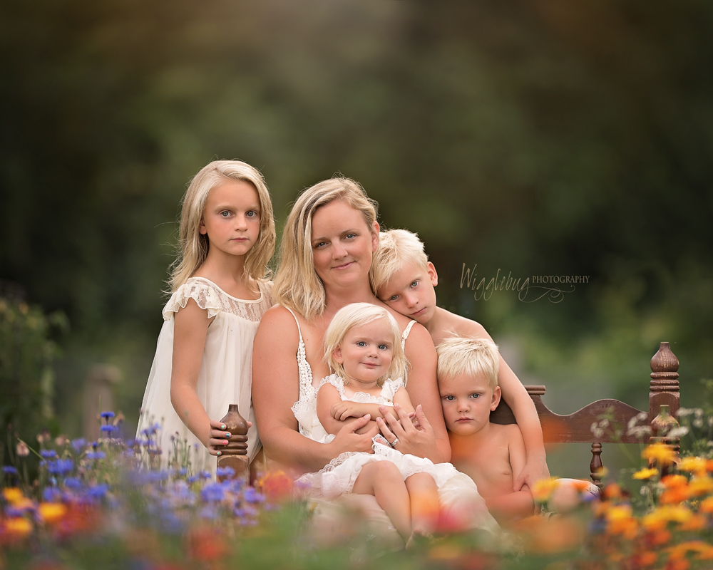Outdoor portrait of mother and children DeKalb IL Photographer