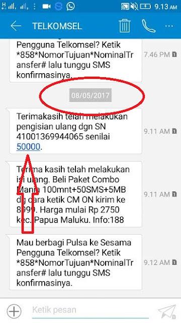 Bukti SMS dari Telkomsel Pulsa gratis dari Aplikasi Pang Android