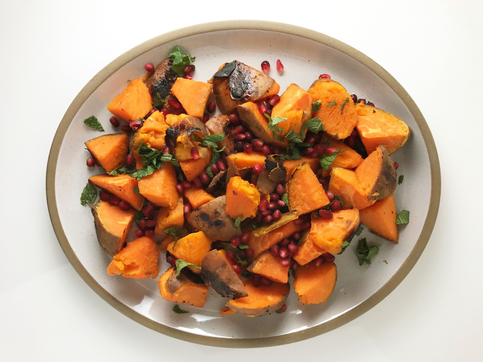 sweet potatoes with pomegranate and mint