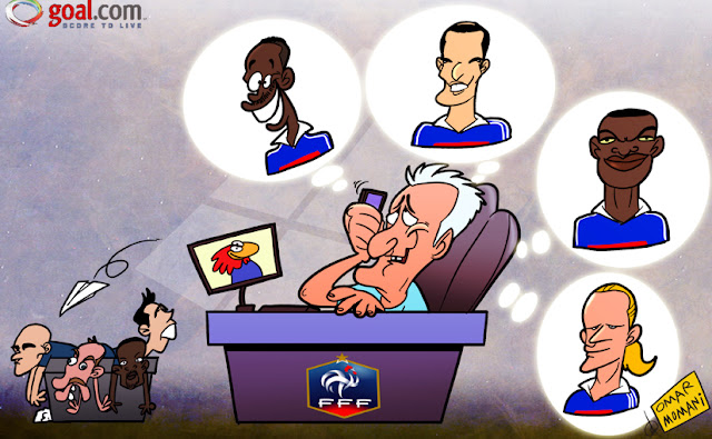 Descahmps call Henry, Zidane, Desaily and Petit cartoon