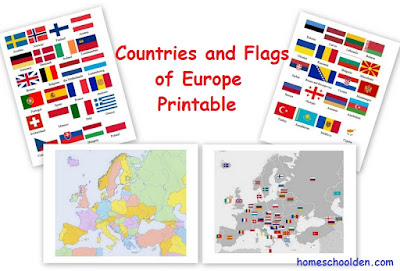 http://homeschoolden.com/2016/04/14/europe-countries-and-flag-maps-free-printable/