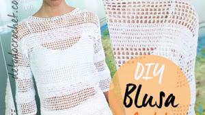 Blusa de crochet filet con gráficos y explicación paso a paso