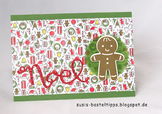 DIY Designerpapier mit Stempelset Iconic Christmas von Stampin' Up! Demonstratorin in Coburg Susis Basteltipps weihnachtskarte geschenkverpackung lebkuchenmann pillowbox
