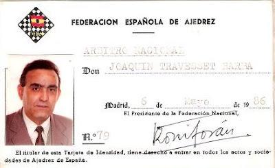 Credencial de Joaquim Travesset Barba como árbitro de la Federación Española de Ajedrez