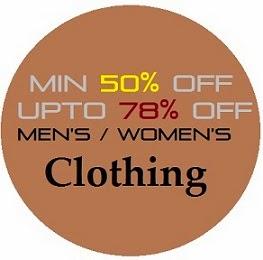 Flipkart Offer: Get Minimum 50% Off upto 78% Off on Men's / Women's Clothing