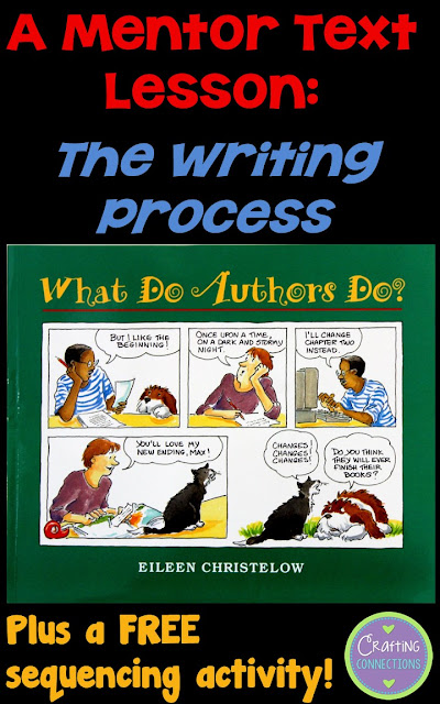 "Looking for a mentor text to use in a writing lesson for upper elementary students? This text can be used as a foundation to stress tons of truths about how ""real"" authors write. A free sequencing activity is also included in this blog post!"