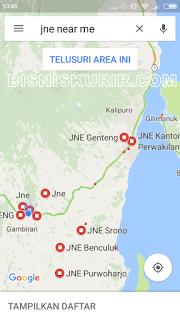 Cari agen JNE terdekat via aplikasi Google maps.