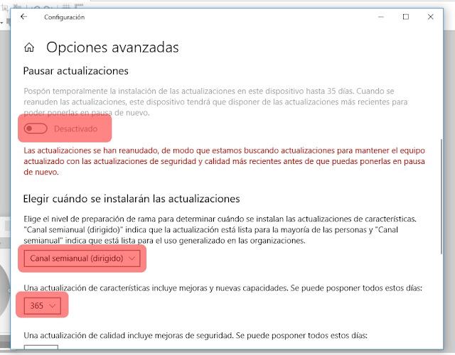 Windows update posponer actualizaciones