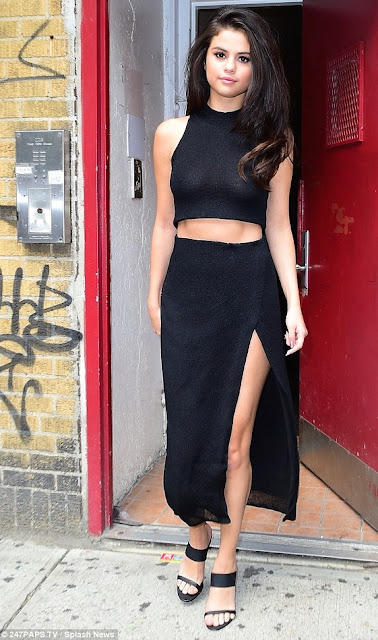 Steal celebs' style: for daring girls, Selenza Gomez' crop top dress (available at Sherry London)
