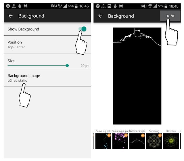 Menambah background glance screen