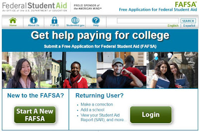 screenshot of the FAFSA homepage titled get help paying for college picturing happy students