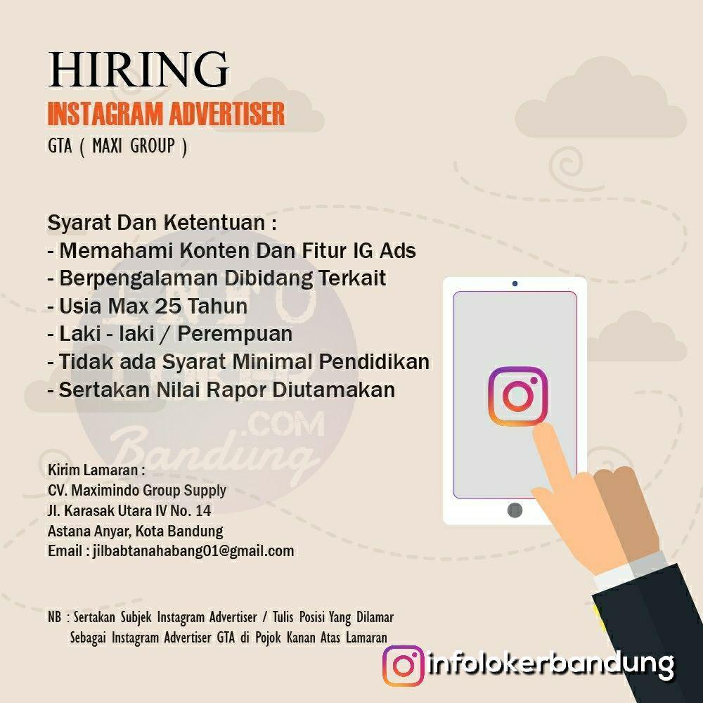Lowongan Kerja Instagram Advertiser GTA ( Maxi Group ) Bandung April 2018