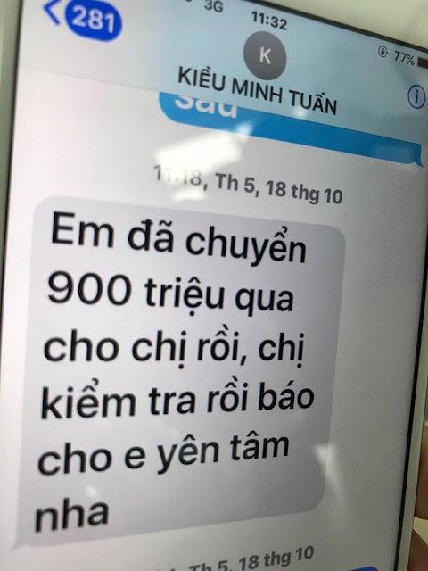 Tin nhắn của Kiều Minh Tuấn về việc chuyển tiền được bà Dung chia sẻ