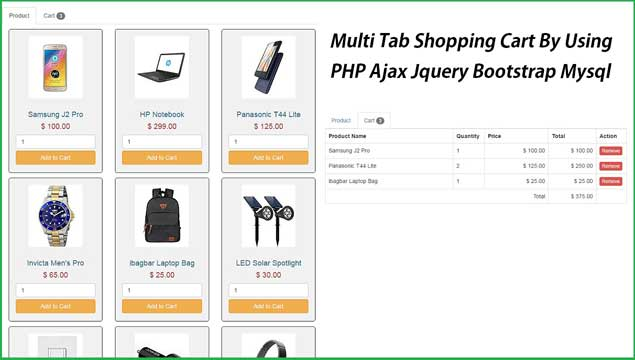 Multi Tab Shopping Cart By Using PHP Ajax Jquery Bootstrap