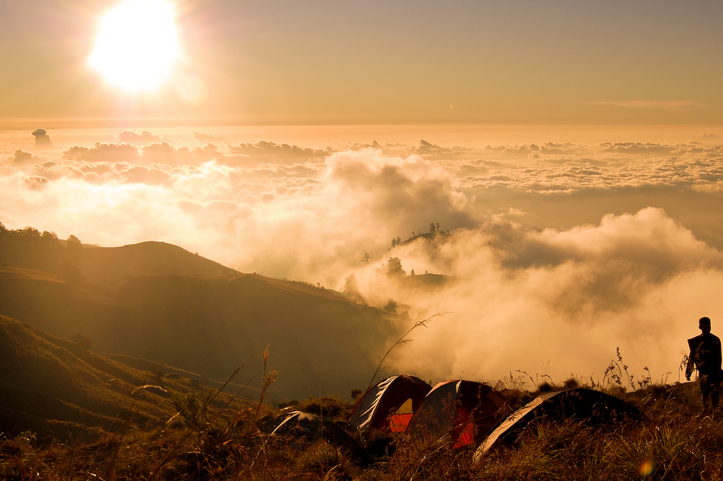 Beautiful sunset at Plawangan Senaru an altitude 2460 meter of Mount Rinjani