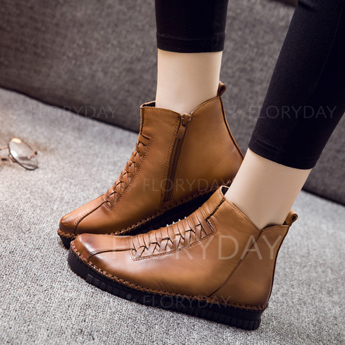 Knit Zipper Split Joint Round Toe Flat Heel Shoes