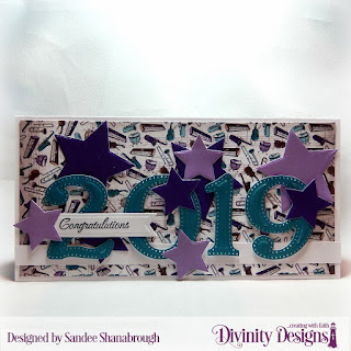 Divinity Designs Stamp Set_ The Future_ Paper Collection_ Notable Notes_ Custom Dies_ Large Numbers_ Sparkling Stars_ Pennant Flags