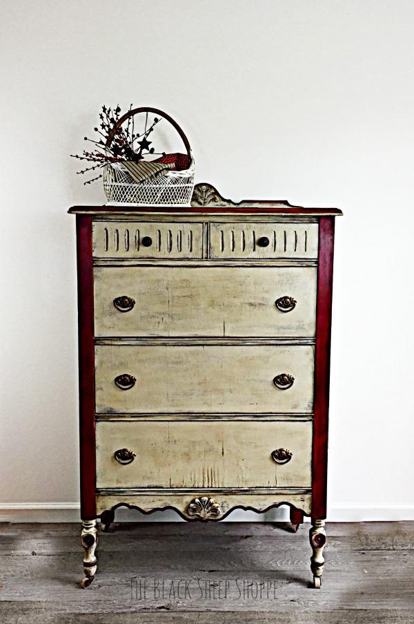 Rustic style vintage dresser.
