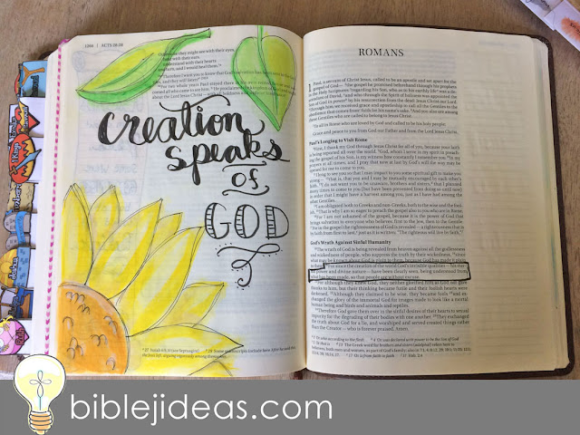 Creation speaks of God Bible Journaling Romans 1:20