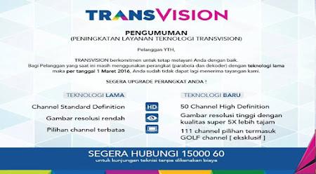 Transvision Di Satelit Apa kok hilang