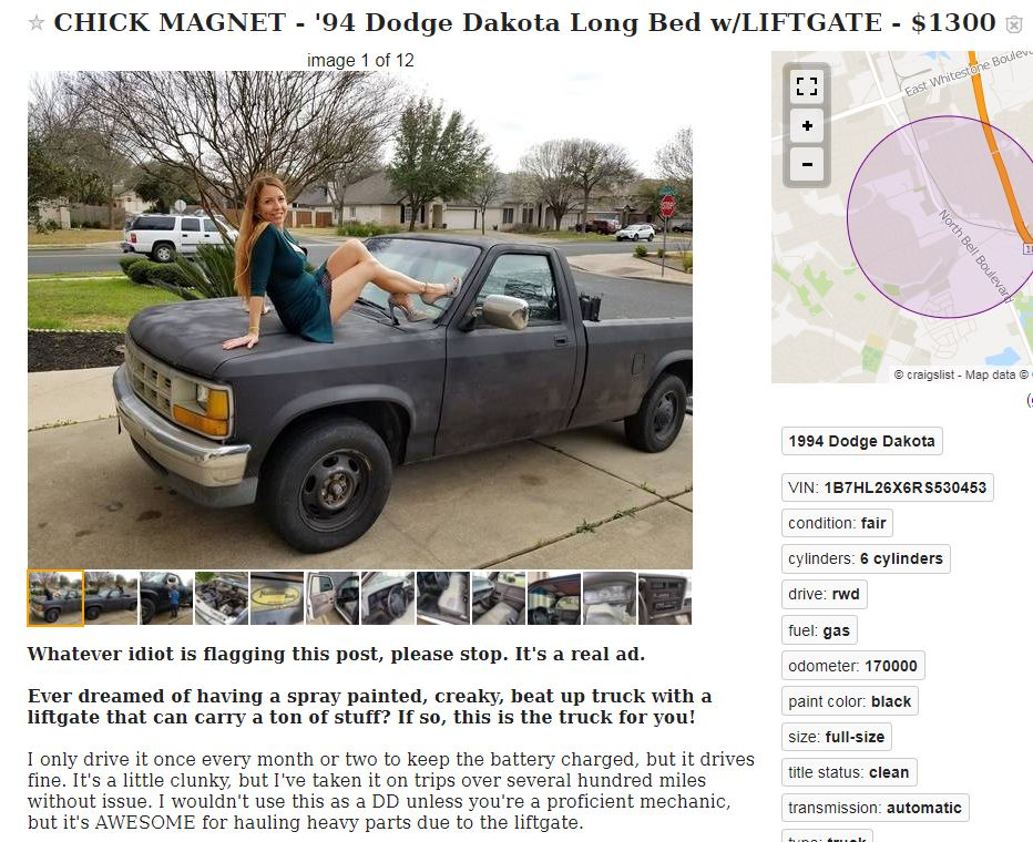 Just A Car Guy: clever craigslist ad to sell a Dakota in Austin    I