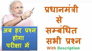 प्रधानमंत्री से संबंधित महत्वपूर्ण प्रश्न और उत्तर