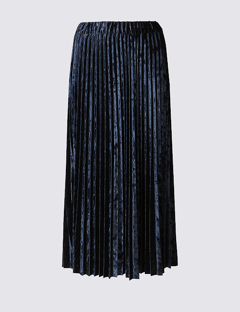 navy midi pleated skirt