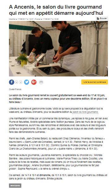 Salon du livre gourmand en pays d 39 ancenis ouest france 17 - Salon du livre gourmand ...