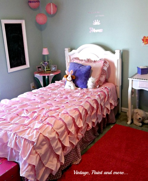 Vintage, Paint and more... little girls room with ruffled Anthropologie inspired bedspread and thrifted, painted furniture