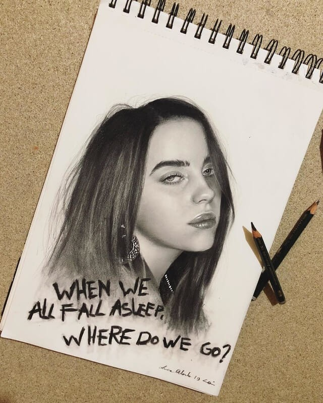 01-Billie-Eilish-Luca-Orlando-Celebrity-Drawn-with-Colored-Pencils-www-designstack-co