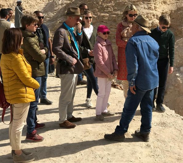 Queen Mathilde, Crown Princess Elisabeth, Prince Gabriel, Prince Emmanuel and Princess Eleonore visited the pyramids of Giza