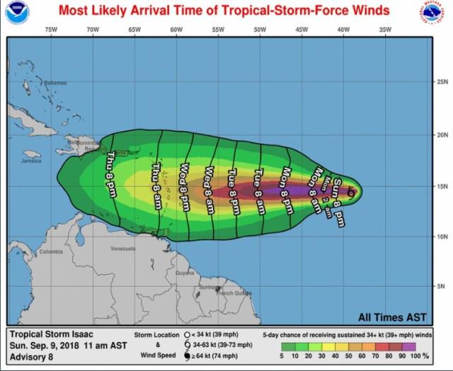 Tormenta Isaac pasará muy cerca de las costas venezolanas