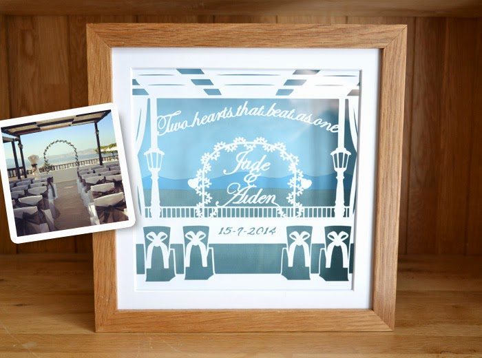 Wedding scene venue personalised papercuttings