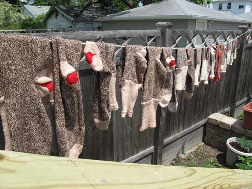 vintage red heel socks clothes line summer