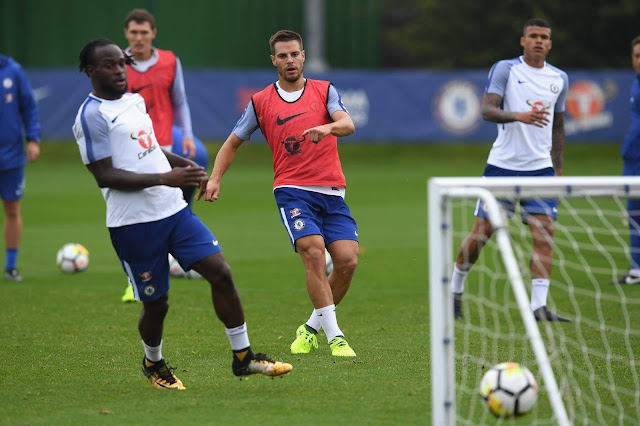 Chelsea players on training session