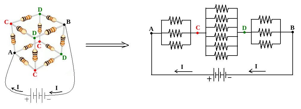 the picture on the right below shows the electric circuit of our resistor  cube, with shorted vertices c, and d