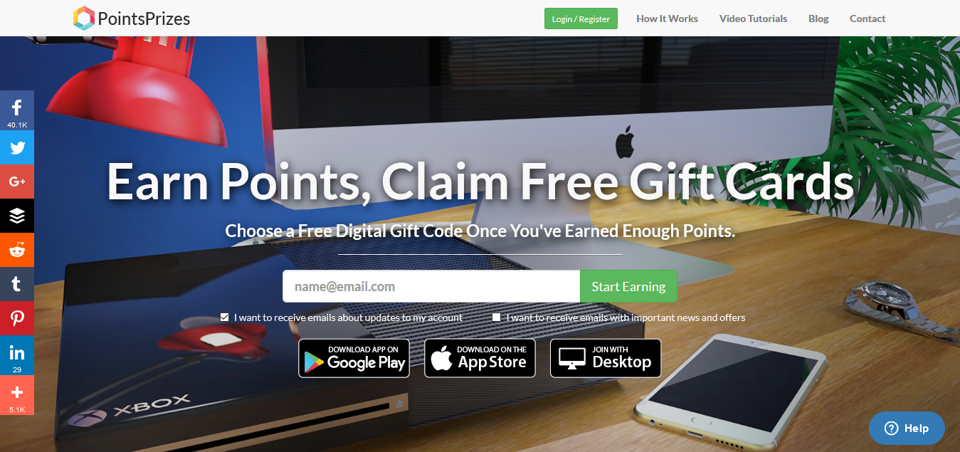 Signing up on PointsPrizes com