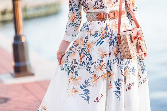 Zaful Printed Maxi Shirt Dress - Fall Fashion - Harbor East Baltimore - Cutout Booties - Katie Vee Photography - Bow Weaving Bag - Tortoise sunnies - Huda beauty trophy wife liquid matte lipstick - fashion blogger - fall style