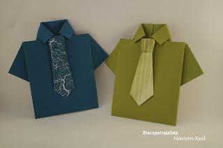 Karte Männerhemd Jeansblau und Olivgrün mit Stampin´ Up!