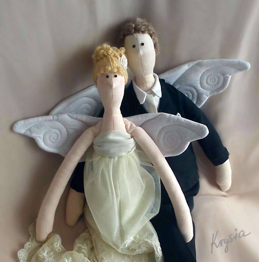 anielioły tilda młoda para Krysia to uszyła