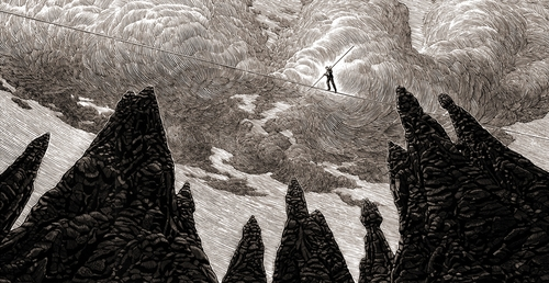 01-Tightrope-Walker-Douglas-Smith-Scratchboard-Drawings-Through-Time-and-Lives-www-designstack-co