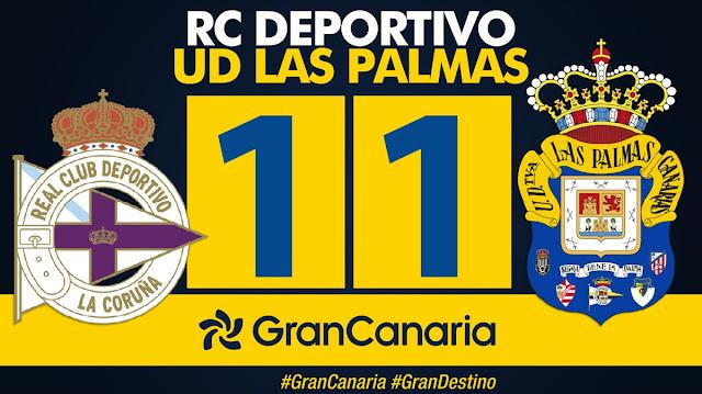 Marcador final RC Deportivo 1-1 UD Las Palmas