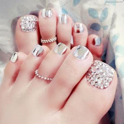 Uñas de novia para los pies