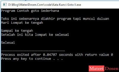 Contoh Program dengan Goto C++