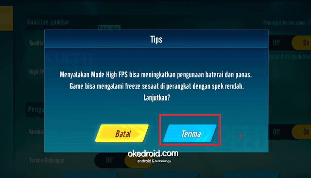 Jendela Tips menyalakan mode High FPS