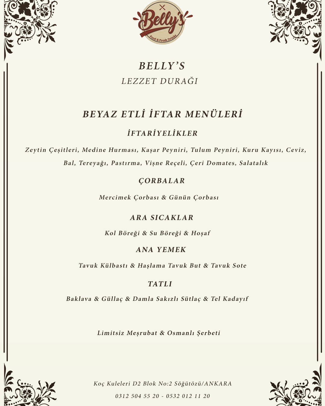 belly's food fresh drinks ankara iftar menu