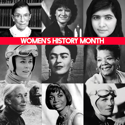 Collage of black and white photos of historical women like Ruth Bader Ginsburg, Sally Ride, Maya Angelou, Nina Simone, Amelia Earhart and Frida Kahlo.  Text: Women's History Month