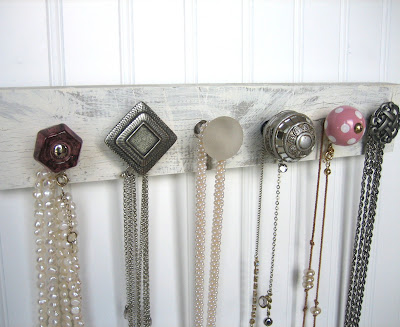 necklace rack made with interesting knobs